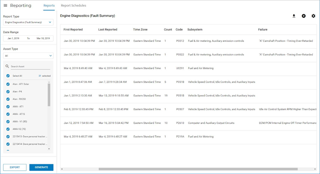 A screenshot of Fleet Complete's engine diagnostics hub.