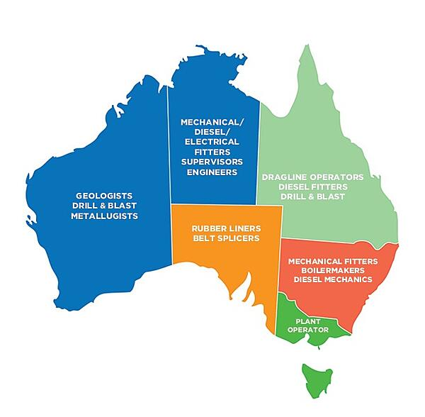 Map of Austrlia outlining prominent jobs in the minining industry per state.