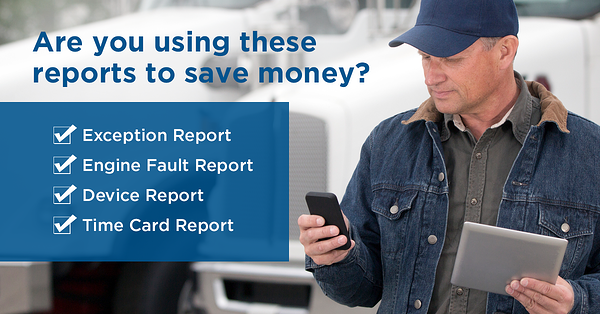 fleet driver using mobile device to save money. IVMS and fleet management software include expense reports, time card, device and engine health reporting.