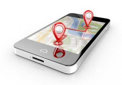 Mobile device showing location markers.