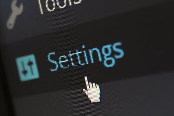 Settings menu on computer screen.