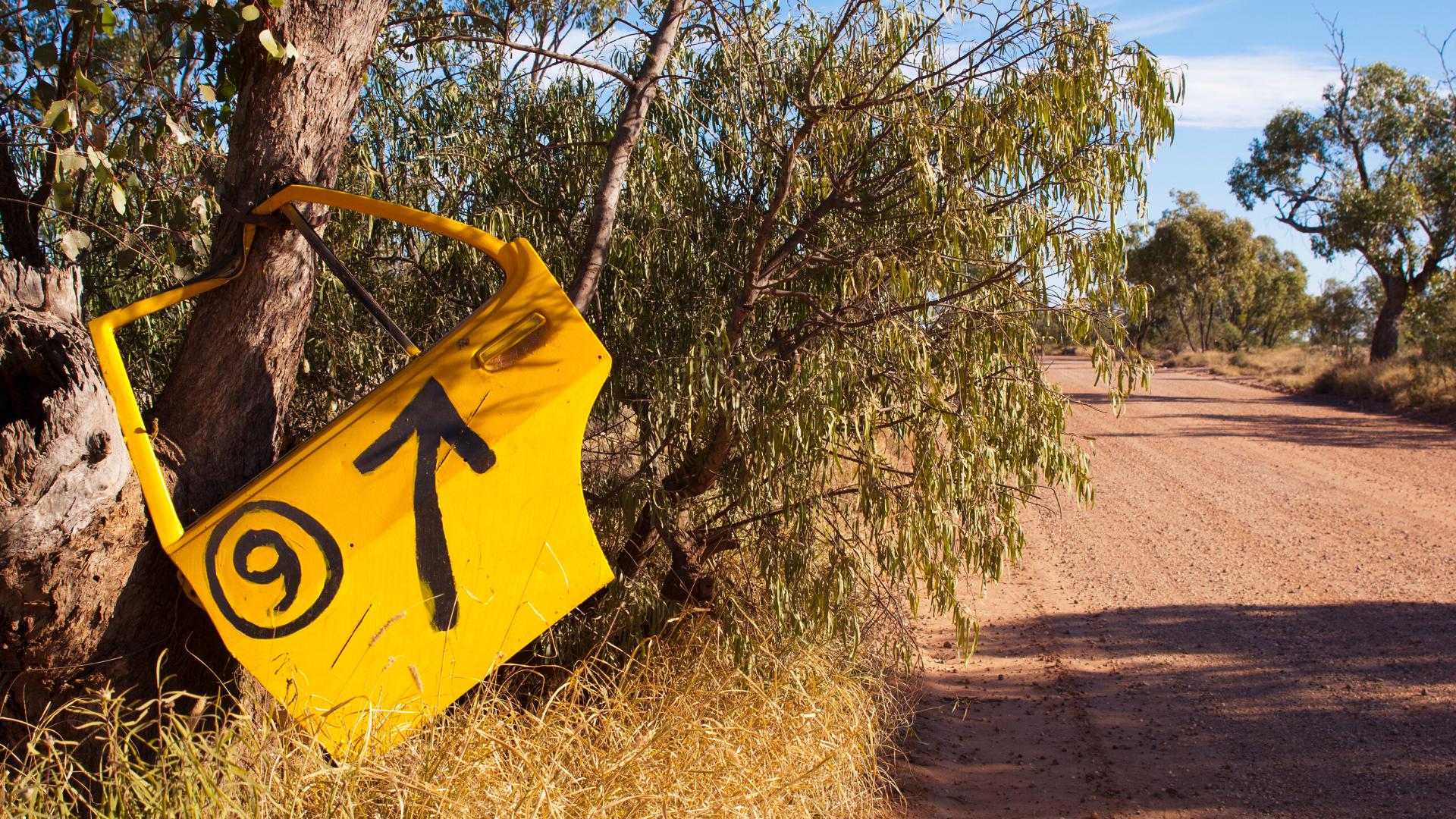 Australian roadside and car door on branch.
