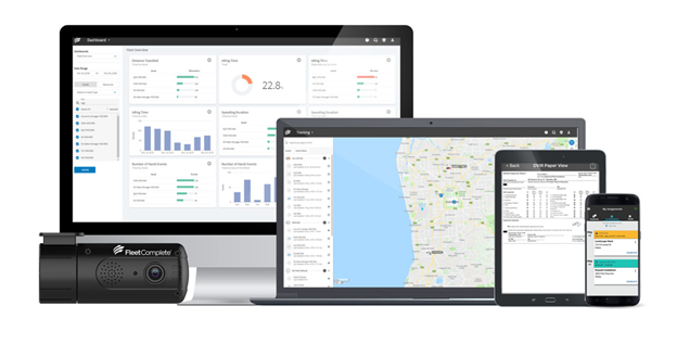 Fleet Complete solutions displayed on computer screens and mobile devices.