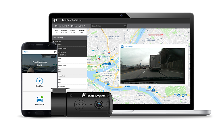 desktop and phone showing vision and dashcam
